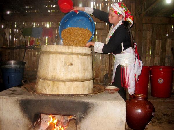 Thóc sau khi ủ đã ngấu được đưa vào nồi nấu để chưng cất thành rượu
